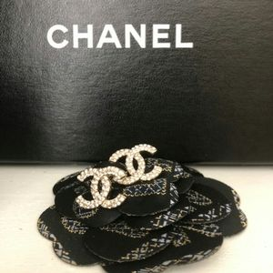 Authentic Chanel Crystal CD Logo Earrings